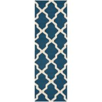 Safavieh Cambridge 2-Foot 6-Inch x 22-Foot Quatrefoil Rug in Navy Blue/Ivory