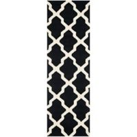 Safavieh Cambridge 2-Foot 6-Inch x 18-Foot Quatrefoil Rug in Black/Ivory