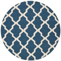 Safavieh Cambridge 8-Foot x 8-Foot Quatrefoil Rug in Navy Blue/Ivory
