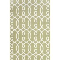 "Feizy Amalazari 3-Foot 6-Inch x 5-Foot 6""-Inch Hand-Hooked Area Rug in Green/White"