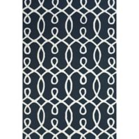 "Feizy Amalazari 3-Foot 6-Inch x 5-Foot 6""-Inch Hand-Hooked Area Rug in Navy/White"