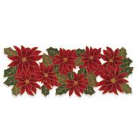 Winter Wonderland Beaded Poinsettia 36-Inch Table Runner