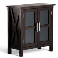 Simpli Home Kitchener 30-Inch Medium Storage Cabinet in Dark Walnut Brown
