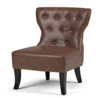 Simpli Home Kitchener Bonded Leather Accent Chair in Rustic Brown