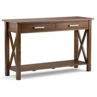 Simpli Home Kitchener Console Sofa Table in Saddle Brown
