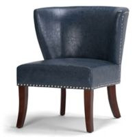 Jameston Bonded Leather Accent Chair in Denim Blue