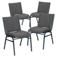 Flash Furniture Upholstered Metal Stacking Chairs in Grey (Set of 4)