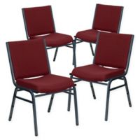Flash Furniture Upholstered Metal Stacking Chairs in Burgundy (Set of 4)