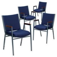 Flash Furniture Fabric/Metal Stacking Chair (Set of 4) in Navy
