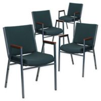 Flash Furniture Fabric/Metal Stacking Chair (Set of 4) in Green