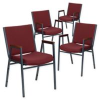 Flash Furniture Fabric/Metal Stacking Chair (Set of 4) in Burgundy