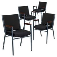 Flash Furniture Fabric/Metal Stacking Chair (Set of 4) in Black