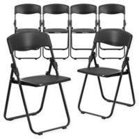 Flash Furniture Plastic Folding Chairs in Black (Set of 6)