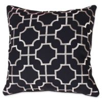 Thro by Mario Lorenz Tonianne Embroidered Geo Throw Pillow in Maritime Blue/Silver