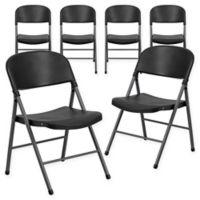 Flash Furniture Plastic Folding Chair in Black (Set of 6)