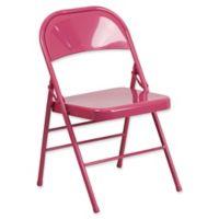 Flash Furniture Colorburst Steel Folding Chair in Fuchsia