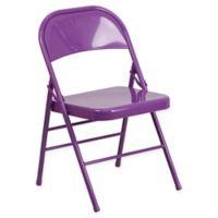 Flash Furniture Colorburst Steel Folding Chair in Purple