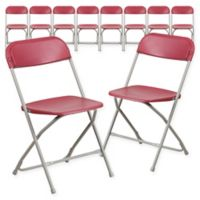 Flash Furniture Plastic Folding Chairs in Red (Set of 10)