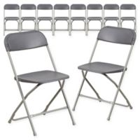 Flash Furniture Plastic Folding Chairs In Burgundy (Set of 10)