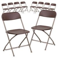 Flash Furniture Plastic Folding Chairs in Brown (Set of 10)
