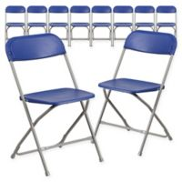 Flash Furniture Plastic Folding Chairs in Blue (Set of 10)