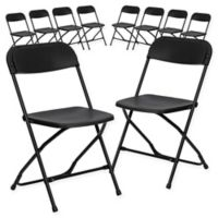 Flash Furniture Plastic Folding Chairs in Black (Set of 10)