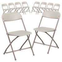 Flash Furniture Plastic Folding Chairs in Beige (Set of 10)
