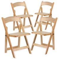 Flash Furniture Wood Folding Chairs in Natural (Set of 4)