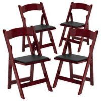 Flash Furniture Wood Folding Chairs in Mahogany (Set of 4)