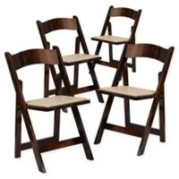 Flash Furniture Wood Folding Chairs in Beige (Set of 4)