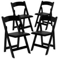 Flash Furniture Wood Folding Chairs in Black (Set of 4)