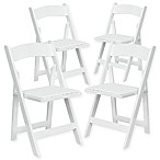 Flash Furniture Wood Folding Chairs in White (Set of 4)