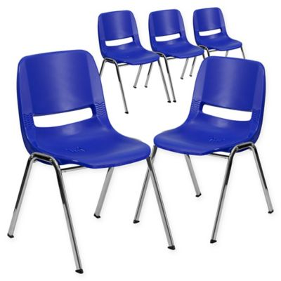Flash Furniture 22 Inch Plastic Stacking Chairs In Blue/Silver (Set Of 5