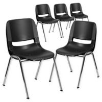 Flash Furniture 24-Inch Plastic Stack Chair in Black/Silver (Set of 5)