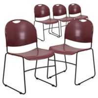 Flash Furniture Plastic Stack Chairs in Burgundy (Set of 5)