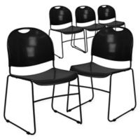 Flash Furniture Plastic Stack Chairs in Black/Black (Set of 5)