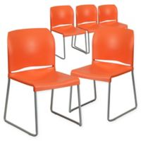 Flash Furniture Plastic Stack Chairs in Orange (Set of 5)