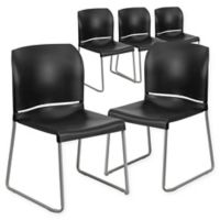Flash Furniture Plastic Stack Chairs in Black (Set of 5)