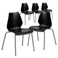 Flash Furniture Stackable Plastic Chairs in Black (Set of 5)