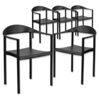 Flash Furniture 30-Inch Plastic Stack Café Chair in Black (Set of 5)