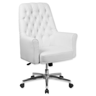 white tufted chair. flash furniture mid-back tufted leather executive office chair in white