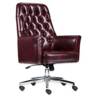 Flash Furniture Mid-Back Tufted Leather Executive Office Chair in Burgundy