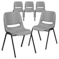 Flash Furniture 32-Inch Plastic Stack Chair in Grey (Set of 5)