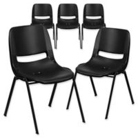 Flash Furniture 32-Inch Plastic Stack Chair in Black (Set of 5)