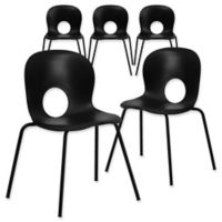 Flash Furniture Plastic Cafe-Style Stack Chairs in Black (Set of 5)