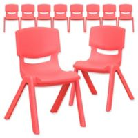 Flash Furniture 22-Inch Plastic Stack Chair in Red (Set of 10)