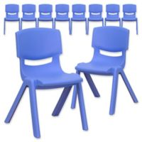 Flash Furniture 22-Inch Plastic Stack Chair in Blue (Set of 10)
