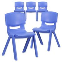 Flash Furniture Contoured Stackable Plastic Chairs in Blue (Set of 5)