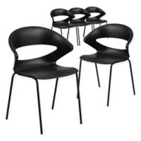 Flash Furniture Cafe Style Plastic Stacking Chairs in Black (Set of 5)