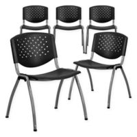 Flash Furniture Vented Plastic Textured Stacking Chairs in Black (Set of 5)